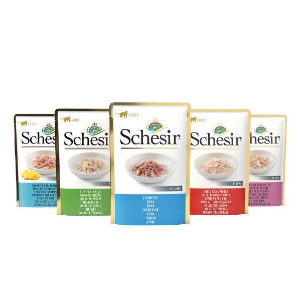 Image of Schesir Cat Soft Adult 85 gr: Filetti di Pollo con Prosciutto