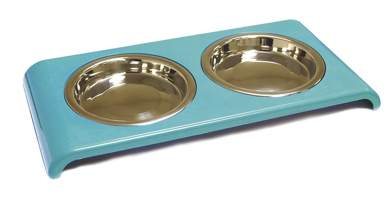 Ciotola Doppia In Acciaio Gatto Croci 2 x 180 ml Turchese