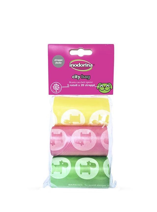 Image of Inodorina City Bag - Ricarica Sacchetti Igienici Assortiti: Colori assortiti - 3 rotoli da 20