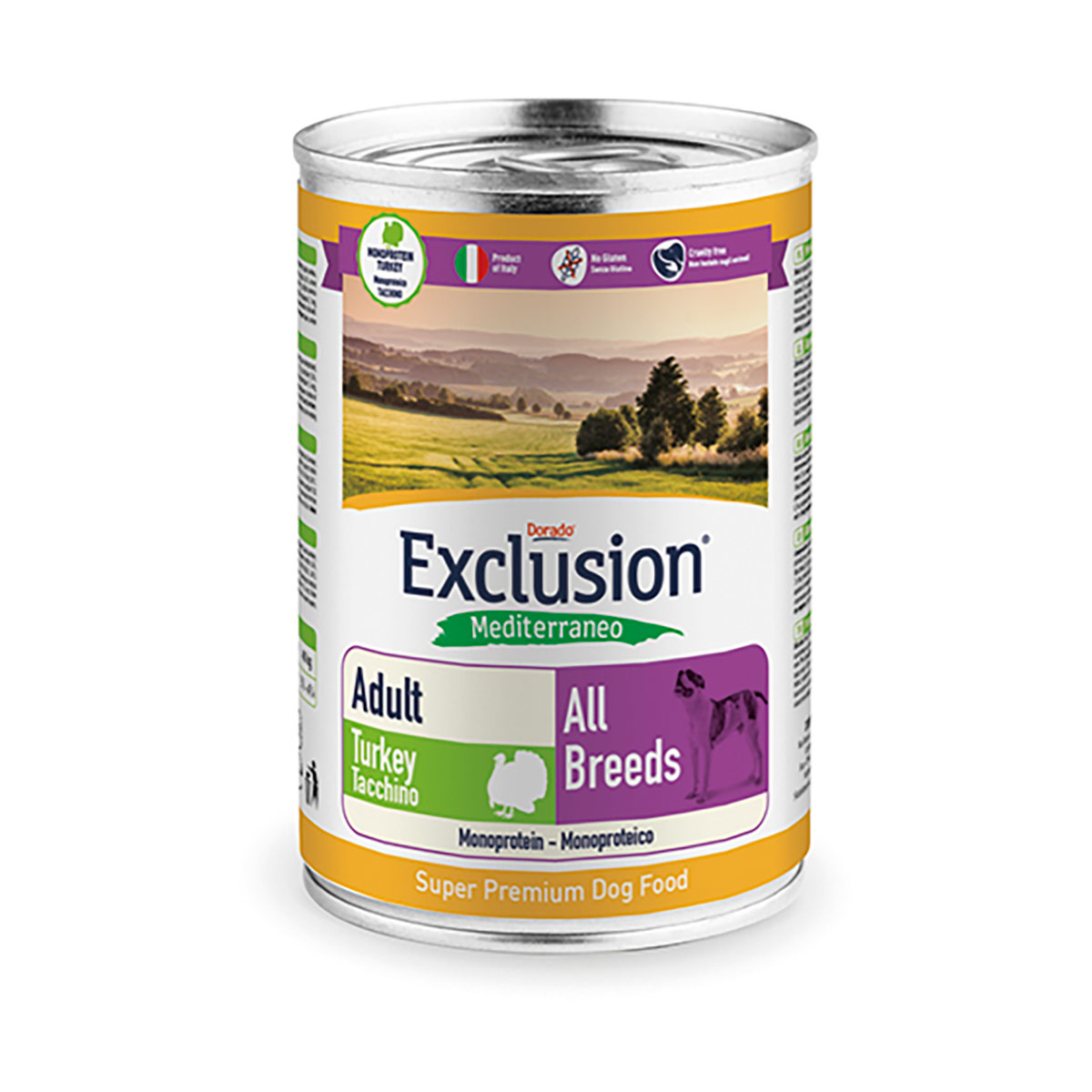 Image of Exclusion Mediterraneo Adult All Breed 400 gr Tacchino 9000545