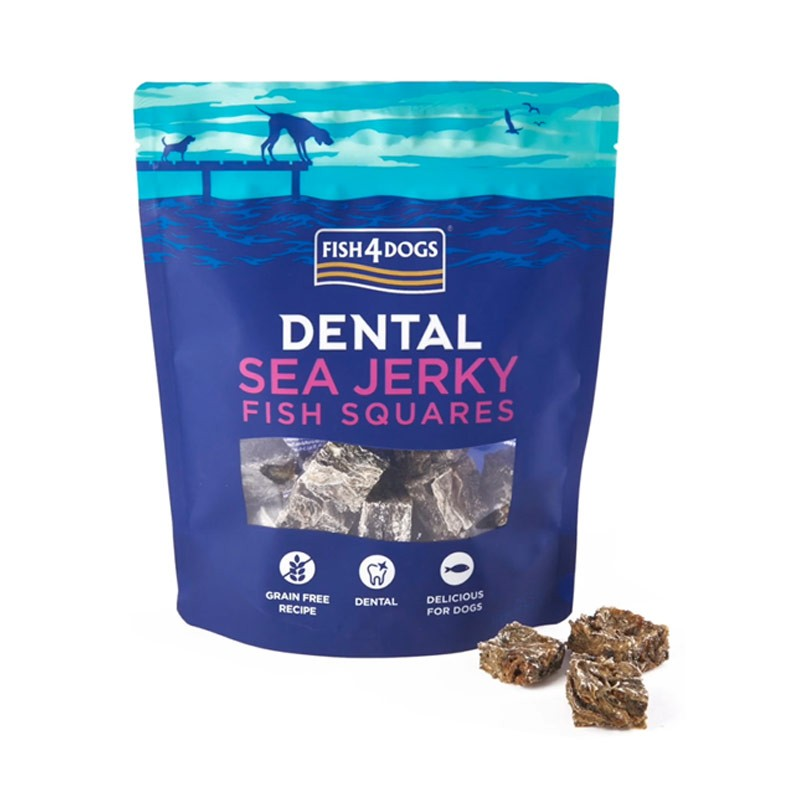 Fish4Dogs Sea Jerky Squares (pelle essiccata): 115gr