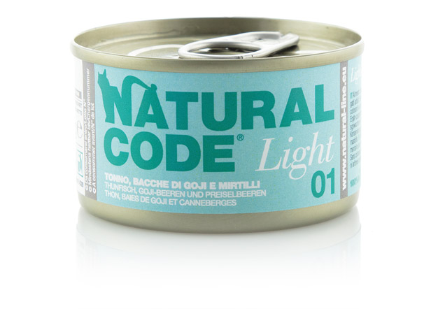 Natural Code Light in acqua di cottura 85 gr: 02 Pollo, Bacche di Goji, Carote