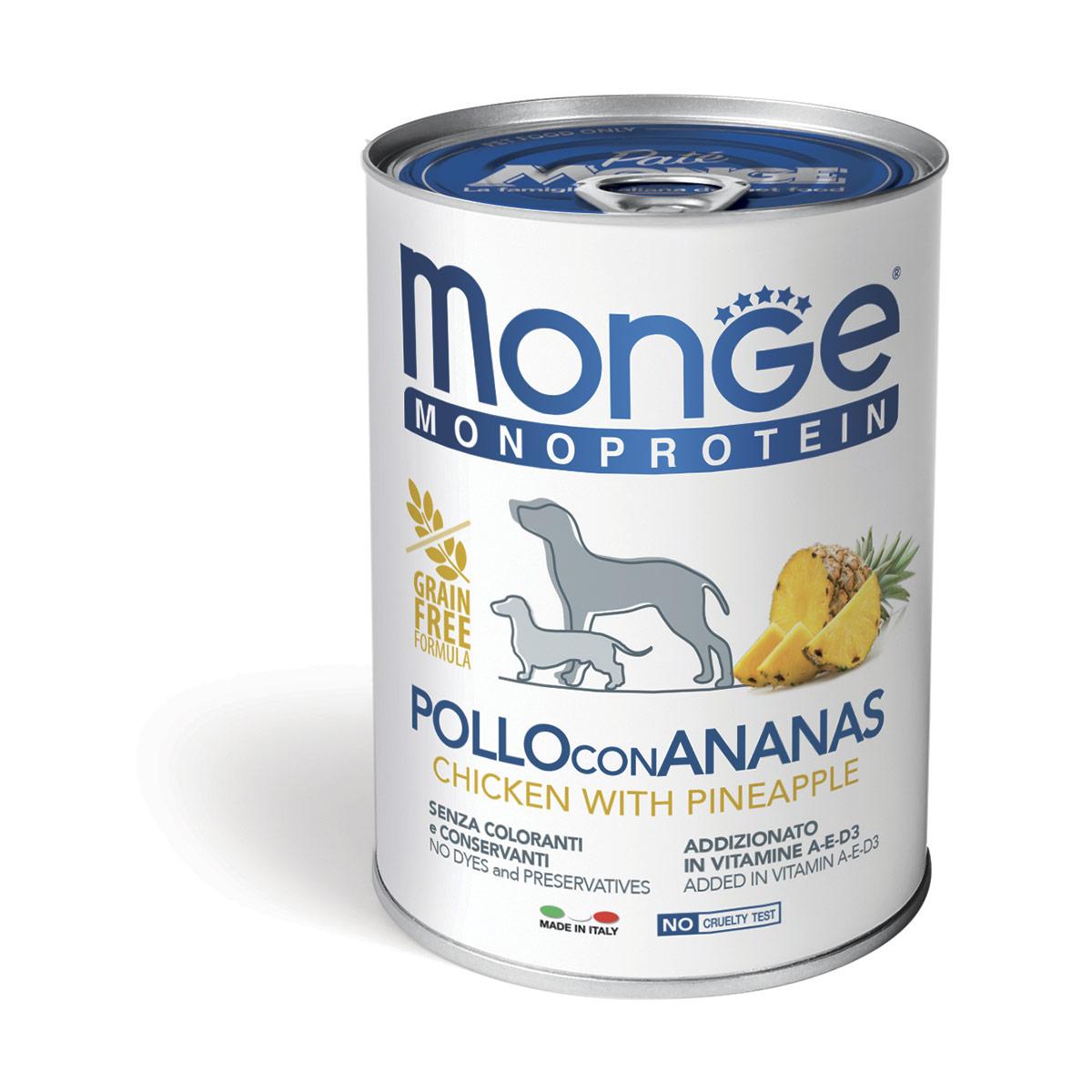 Monge Monoproteico 400 gr Pollo, Riso e Ananas