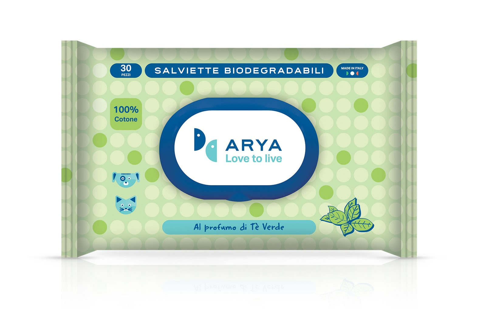 Image of Salviette Biodegradabili in Cotone 30 pezzi Arya: Senza profumazione