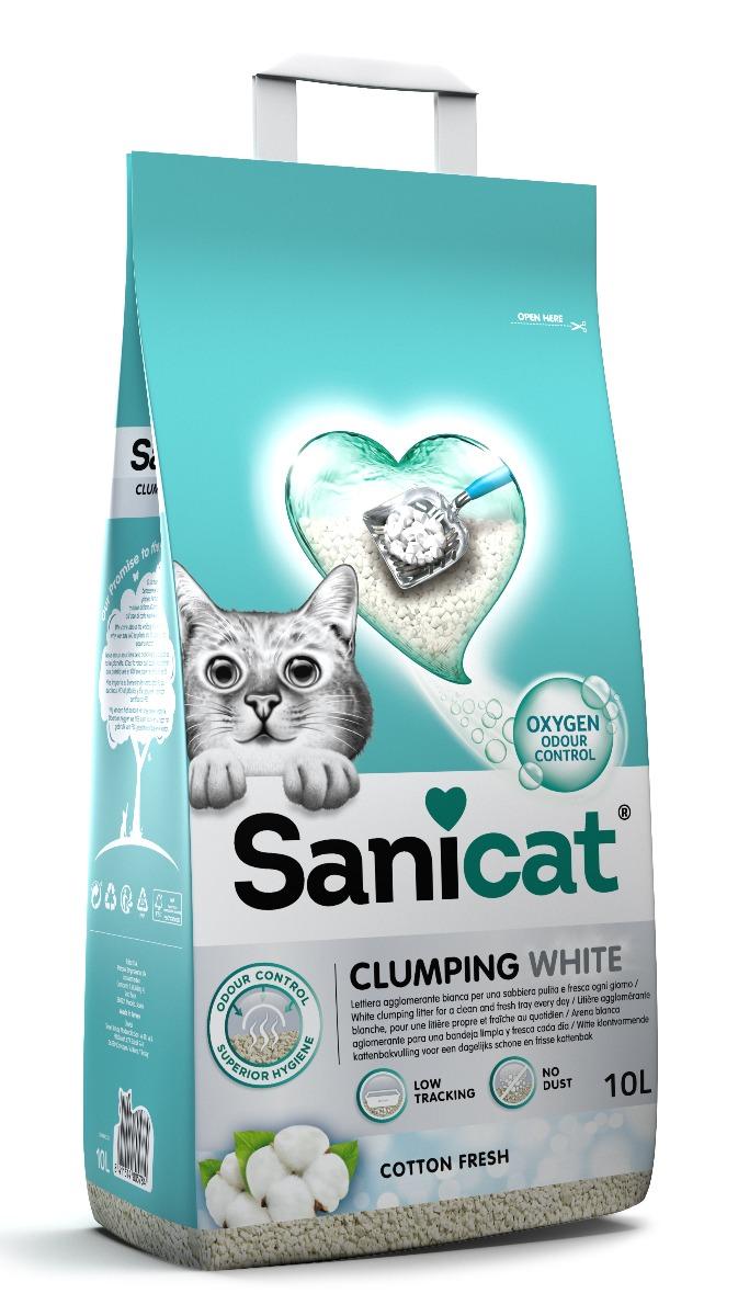 Image of Sanicat Lettiera Clumping White Cotton Fresh: 10 L